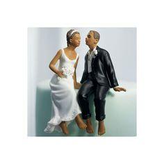 Figurine Couple de mariés noirs assis