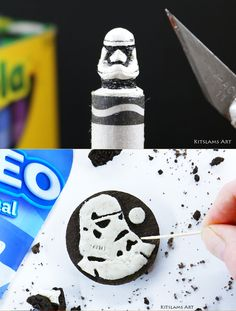 Stormtrooper Art Collection by Kitslam. Crayon Carving and Oreo Cookie Carving of the Stormtrooper from Star Wars. Stormtrooper Art, Star Wars Drawings, Speed Art, Star Wars Fan Art, Crayon Art, Color Pencil Art, Marker Art, Art Challenge, Acrylic Art