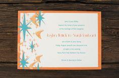 Ruffhouseart.com Atomic Age/Mid Century Wedding invitation.