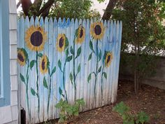 Sunflowers on a fence.