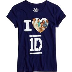 1d Tee With Heart bffs and faves ($26) ❤ liked on Polyvore featuring one direction, shirts, tops, 1d and kids