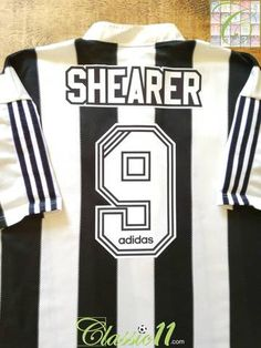 Official Adidas Newcastle United home football shirt from the season. Complete with Shearer on the back of the shirt in original Adidas flock lettering. Newcastle United Football, Black White Stripes, Black And White, Classic Football Shirts, Blue T, Premier League, How To Memorize Things, Adidas, Lettering