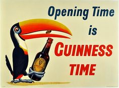 Free Vintage Posters, Vintage Travel Posters, Printables: Opening Time is Guinness Time - Beer/Drinks Vintage Poster Vintage Advertising Posters, Vintage Travel Posters, Vintage Advertisements, Vintage Ads, Vintage Circus, Vintage Metal, Vintage Prints, Vintage Style, Guinness Advert
