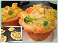 Chicken Pot Pie Biscuits - What a fun presentation!  Biscuits, Chicken, Veggies, Cream of Chicken Soup, and a little Cheese :)