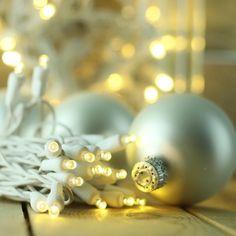Warm White LED Lights on White Wire - 5mm lenses