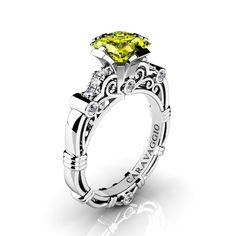 Art Masters Caravaggio 950 Platinum 1.25 Ct Princess Yellow Sapphire Diamond Engagement Ring R623P-PLATDYS | Caravaggio Jewelry