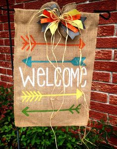 Arrows Welcome garden yard flag with bow by BurlapAndMoreDecor