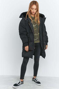 adidas Longline Black Puffer Jacket