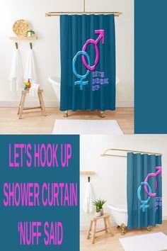 'Lets Hook Up Getting Together - Male Female' Shower Curtain by mikebridges Elegant Shower Curtains, Latest Gadgets, Program Design, Living Spaces, Symbols, Let It Be, Kitchen Utensils, Woman, Bathroom