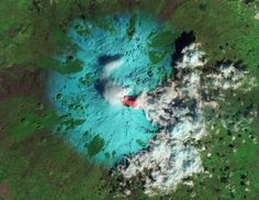 Italyís Etna Volcano is seen erupting in this false-color image taken by satellite at Feb. 19, 2013.