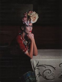 Fashion Studio: FASHION ICON - FRIDA KAHLO - German Vogue (March 2010) featured a famous supermodel Claudia Schiffer as Frida Kahlo. Photographed by Karl Lagerfeld. Styled by Christiana Arp.