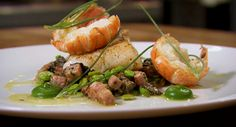 roasted-cod-with-langoustines-broad-beans-and-chanterelles