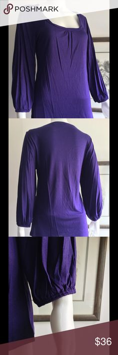 🌟Purple Scoop Neck Top🌟Just In🌟 Purple scoop neck top with banded sleeves and soft rayon fabric. Love this! The top is so so soft, and can be dressed up or worn casual. 100% Rayon. Tops