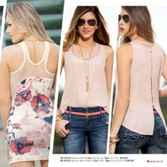 Ref 151053 Blusa en chiffon crepe Color: Rosa Tallas: XS-S-M-L $59.990 Ref 181005 Jeans en denim stretch Color: Único Tall...