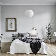 white bedding with rustic grey bed throw is always a good combination for any bedroom: @entrancemakleri presented by SuperiorCustomLinens.com