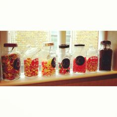 candy jars in the window sill in london