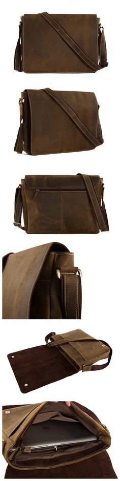 15'' Genuine Leather Men Messenger Bag Laptop Bag Crossbody Bag