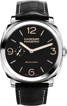 -36% PAM00572 Panerai Radiomir Steel Black Dial Polished Leather Automatic Mens Watch Lowest Price Guaranteed Genuine Mens Panerai Watches