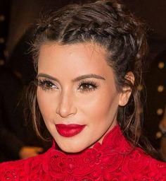 Kim Kardashian African braid in double and bun hairstyles