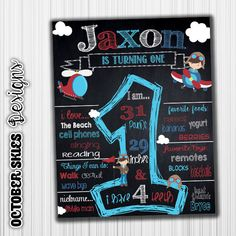 Airplane Birthday Chalkboard, Announcement, Birthday Poster, Any age, digital file - Airplane Birthday Chalkboard Poster by OctoberSkiesDesigns on Etsy - Twin Birthday Parties, Baby Birthday, October Birthday, Birthday Ideas, First Birthday Posters, Birthday Quotes, Airplane Banner, Monster Birthday Invitations, Chalkboard Poster