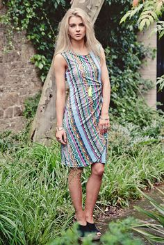 Aztec Print Bodycon Dress by Charlotte's Web Charlottes Web, Aztec, Bodycon Dress, Turquoise, Touch, Casual, Dresses, Style, Fashion