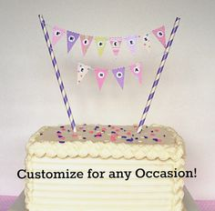 Cake Banner / Cake Bunting DIY Kit. Happy Birthday, Baby Shower, Princess party, tea party etc. Cake Topper or Cupcake Topper.