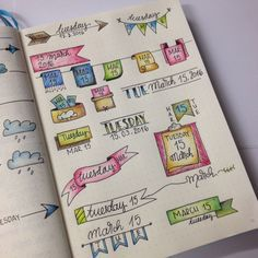BuJo daily header ideas from the Bullet Journal Junkies Facebook Group