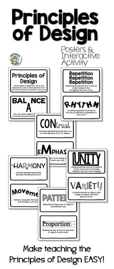 Variety and Unity (Principles of Art/Design) Worksheet