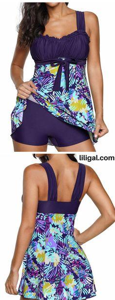 Printed Dark Purple Wide Strap Swimdress and Shorts   #liligal #swimwear #swimsuit
