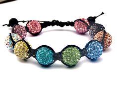 Shamballa Bracelet with Pave Beads Adjustable by shiningstones