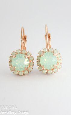 Mint opal earrings | Swarovski chrysolite opal | mint wedding | mint bridesmaid earrings | mint wedding jewelry | www.endorajewellery.etsy.com
