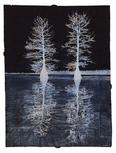 """""""Maysey Craddock Ghosts on the Water gouache & thread on found paper, 49x36.5 2014 """""""