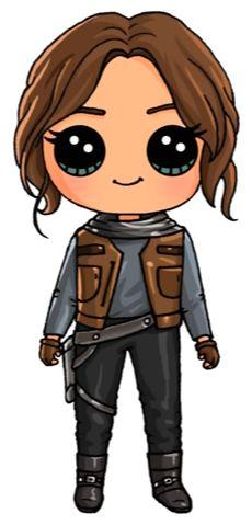 Jyn Erso From Star Wars Rogue One - Diy Tutorial and Ideas Kawaii Girl Drawings, Kawaii Art, Disney Drawings, Cartoon Drawings, Easy Drawings, Cartoon Illustrations, Chibi, Cartoon People, Dibujos Cute