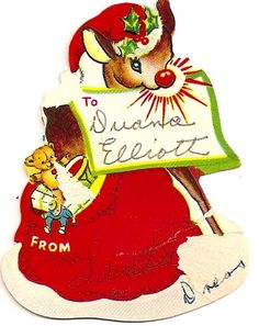 Vintage Christmas Card - these are old 'Valentine-type' Christmas cards kids used to give out at school back in the 1950's.  They came in a book like valentines, and you cut them out.
