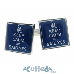 "Keep your wedding jitters at bay with these ""keep calm, she said yes"" cufflinks. On your special day, think of these as your lucky charms and you'll do great! #groom #wedding #cufflinks #giftformen"