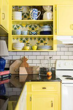Amanda Louise Interiors Yellow Kitchen Photo by Luke Cleland Yellow Kitchen Cupboards, Yellow Cabinets, Yellow Kitchen Decor, Kitchen Redo, Kitchen Items, Kitchen Remodel, Kitchen Design, Bungalow Kitchen, Kitchen Photos