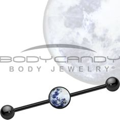Mother of Pearl Moon Industrial Barbell | Body Candy Body Jewelry #bodycandy #industrial