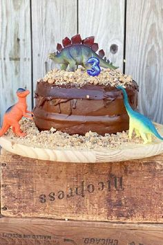 Don't miss this cool dinosaur birthday party! The cake is fantastic! See more party ideas and share yours at CatchMyParty.com
