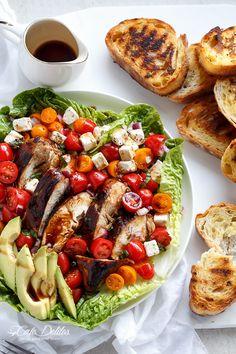 Grilled Balsamic Chicken and Avocado Bruschetta Salad   http://cafedelites.com