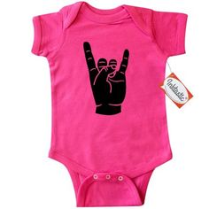 Inktastic Rocker Horns Infant Creeper Baby Bodysuit heavy metal rock punk n roll music gift one-piece