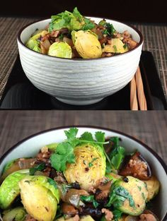 Stir-Fried Brussels Sprouts and Pork in Black Bean Sauce recipe - Fresh Brussels sprouts, ground pork,black bean sauce, chopped fresh ginger, yellow onion, dried shiitakes.   rasamalaysia.com