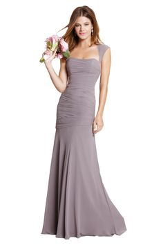 Watters Iman Bridesmaid Dress in Grey in Chiffon