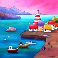 Waterfront Dawn by Gillian Mowbray: Art And Illustration, Naive Art, Whimsical Art, Pictures To Paint, Beautiful Paintings, Rock Art, Painting Inspiration, Art Lessons, Watercolor Paintings