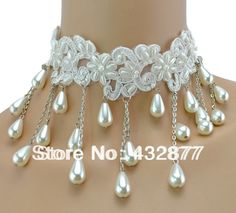 Wholesael New Vintage Gothic White Pearl  Lace Flower Beads Collor Choker Necklace for Women 10pcs/lot -in Choker Necklaces from Jewelry on Aliexpress.com