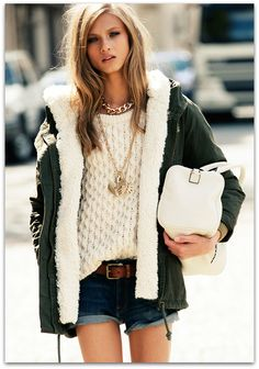 Anna Selezneva for Mango Fall 2012 - just put a parka and a pair of boots on, and your summer outfit lasts a bit longer :) Anna Selezneva, Fashion Tips For Women, Passion For Fashion, Womens Fashion, Fashion Trends, Fashion Ideas, Fashion 2014, Fashion Styles, Winter Trends