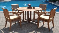 Browse a list of the Best Outdoor Teak Dining Sets! New 5 Pc Luxurious Grade-A Teak Dining Set: Round Butterfly Table and 4 Arbor Arm Stacking Chairs. Teak Garden Furniture, Outdoor Wood Furniture, Wood Patio, Patio Furniture Sets, Patio Dining, Patio Chairs, Arm Chairs, Paint Furniture, Modern Furniture