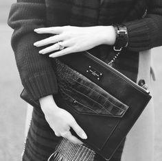 Paul's Boutique Lilly clutch / cross body bag in Black Snake. Online now || www.paulsboutique... x