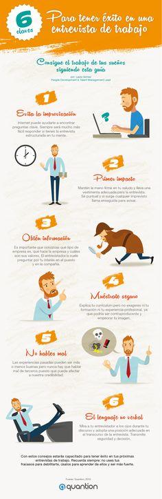 6 claves para tener éxito en una Entrevista de Trabajo #infografia #infogaphic #empleo