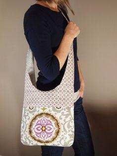 Brooklyn Bag in Grey and Fuchsia Cross Body Bag Mail by stitch248, $50.00