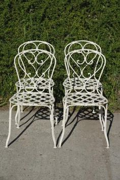 French Wrought Iron Garden Chairs, 1860s, Set Of 4 For Sale At Pamono